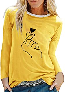 NANTE Top Loose Women's Blouse Finger Heart Print Solid T Shirts O Neck Long Sleeve Shirt Womens Tops Costume Clothes Clothing