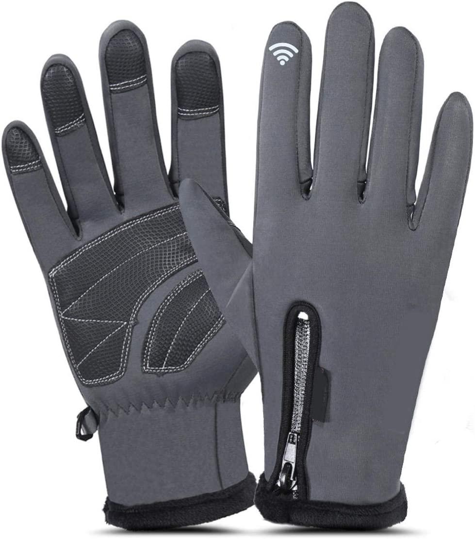 Lupovin-Keep Warm Men Women Winter Gloves Outside Sports Motorcycle Raincoat Windproof Antiskid Touch Screen Non-Slip (Color : Dark Gray, Size : M)