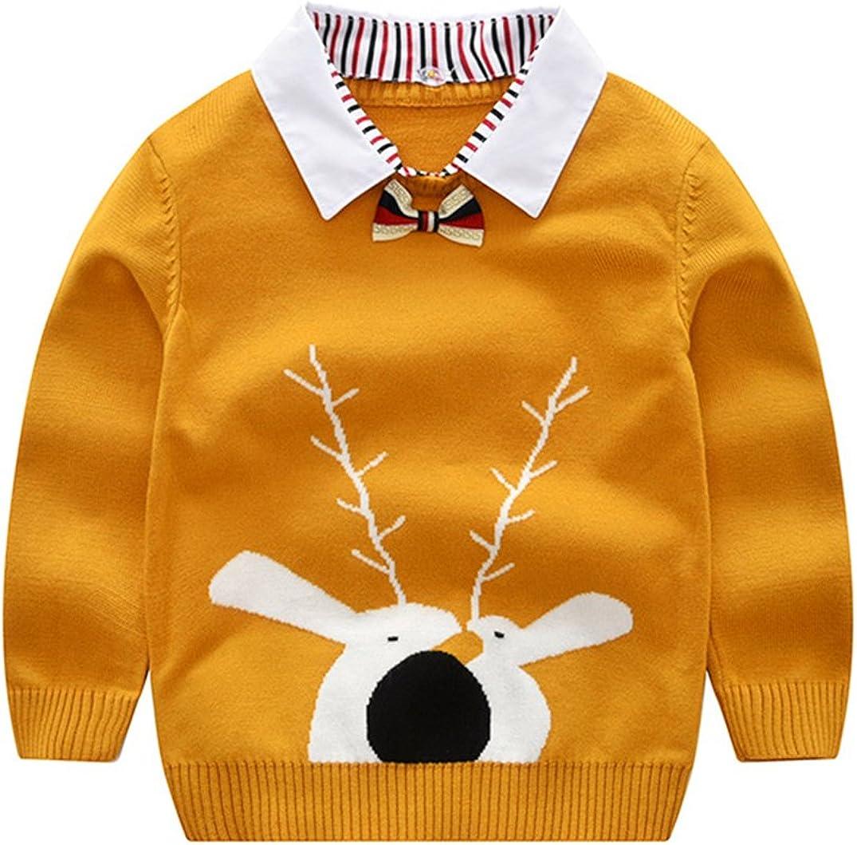 Tortor 1Bacha Kid Girl Boy Reindeer Bowtie Shirt Collar Knit Pullover Sweater