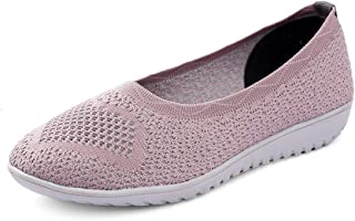 meriggiare® Women Fashion Breathable Knitted Ballerinas Slip-ons Lightweight Sport Gym Fitness Workout Jogging Walking Mem...