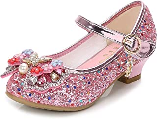 Girls Cosplay Dress Wedding Party Shoes Glitter Sequins Low Heel Mary Jane Princess Shoes