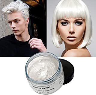 Temporary Hair Color Wax, White Hair Dye Natural Temporary Hairstyle Cream or Hairstyle Wax for Party, Cosplay, Date (Wihte)