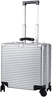 HPXCAZ Luggage 18-inch Aluminum Frame Boarding Case Caster Small Suitcase Public Password Trolley Case Light Large Capacity Luggage Metal Silver Black Rose Gold (Color : Silver, Size : 18 inches)