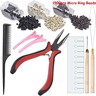 Hair Extensions Kits for Micro Ring Link Hair and Feather Extensions 1500Pcs 0.2 Inches Micro Ring Beads (black brown blon...