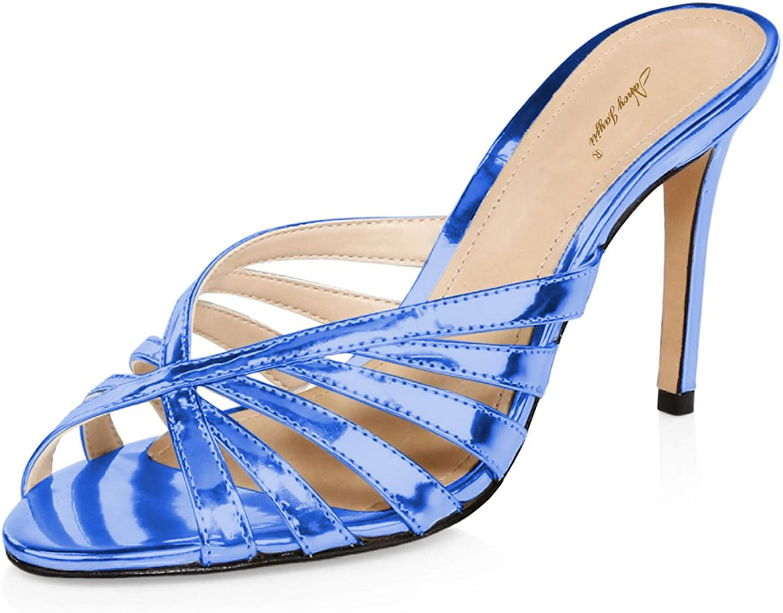NJPU Women High Heels Strappy Sandals Peep Toe Slip On Stiletto Mules Summer Dress Slide shoes