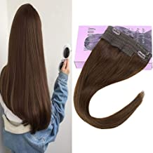 VeSunny 14inch Halo Hair Invisible Hair Extensions Human Hair Color #4 Dark Brown Halo Hair Extensions Remy Human Hair 11Inch Width 80G/Set