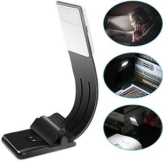 USB OurLeeme ultrafino LEDDimmable luz de lectura recargable de 4 niveles de brillo ajustable lámpara de lectura flexible Clip On para Ipad y libro Más (1PCS) (Blanco frío) (Blanco frío)