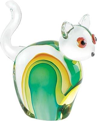 MISC Multi-Color Cat Glass Sculpture Blue Gold Green Animals Handmade