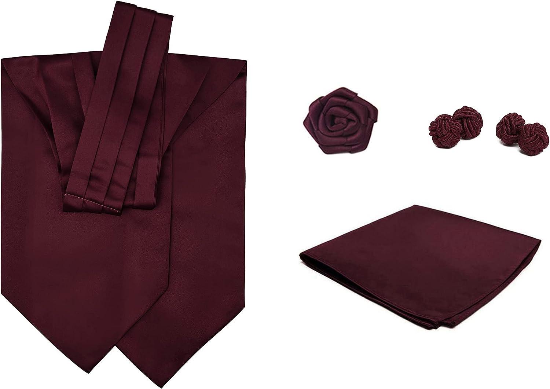 4 Piece Set: Jacob Alexander Men's Solid Color Cravat Ascot Neck Tie Open Rose Lapel Flower Pocket Square and Cufflinks