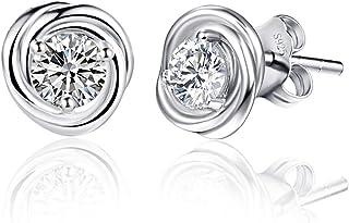 AVECON 925 Sterling Silver Stud Earrings, 17 Fashion Styles Hypoallergenic Earrings for Women