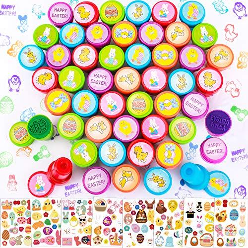 Qpout 50 Pezzi Timbri pasquali per Bambini, francobolli pasquali Assortiti e 120 Pezzi Adesivi pasquali per Cartoline Scrapbook Buste Stamper Decorazione Uova di Pasqua Regalo Riempitore