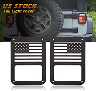 cciyu Rear Tail Light Covers Guards Protectors Fit for 2007-2018 Jeep Wrangler JK (American US Flag) Tail Light Cover Rear Protector