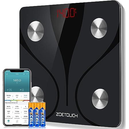 ZOETOUCH Bilancia Pesa Persona Digitale Bilancia Pesapersone Impedenziometrica Intelligente Bluetooth per iOS e Android-Peso Corporeo, Massa Grassa, BMI, Massa Muscolare, Massa Ossea, Proteine, 180kg