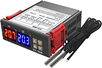 Kecheer Temperature Controller Thermostat, Red Blue Dual Display, 2 NTC Sensor Probes 2 Relay Output (DC 12V)