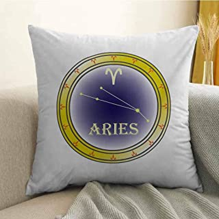 Antony Petty Zodiac Aries Printed Custom Pillowcase Astrology Sign in a Circle with The Horoscope Constellation Decorative Sofa Hug Pillowcase W16 x L16 Inch Yellow Navy Blue and Orange