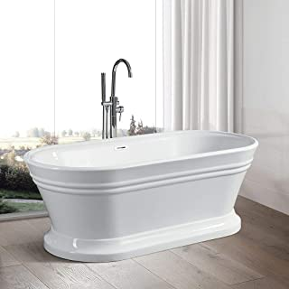 Vanity Art 67-Inch Freestanding White Acrylic Bathtub | Modern Stand Alone Soaking Bathtub with Polished Chrome, UPC Certified, Slotted Overflow & Pop-up Drain - VA6610-L