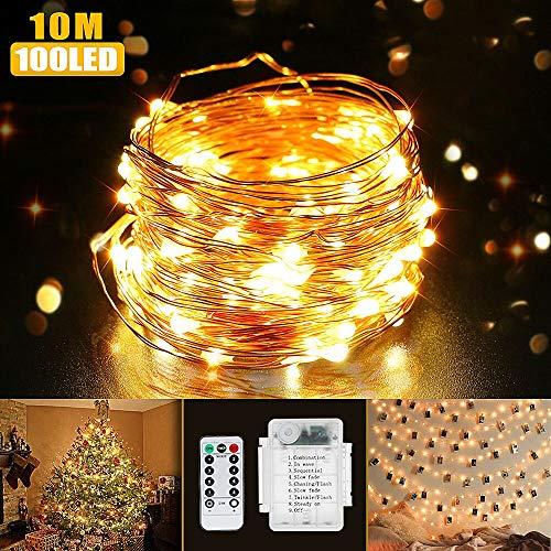 Luci di Natale, Beexcellent Catena Luminosa Stringa 100 LEDs IP65 Impermeabile 10m Luci Foto Fili Rame 8 Modalità, Decorativi per Camera Parti Costume Fare Halloween Casa per Interni e Esterni