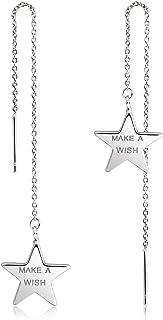 D-DANGLE Star Threader Earrings Long Chain Drop Dangle Earrings for Women Make A Wish