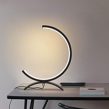 ZMH Lampada da tavolo a LED dimmerabile - lampada da comodino in alluminio nero lampada da scrivania moderna con cavo 3 metri lampada da lettura per studio soggiorno camera da letto