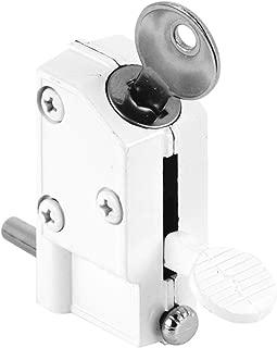 Defender Security U 9884 Sliding Door Lock, Keyed, Step-on, White Finish