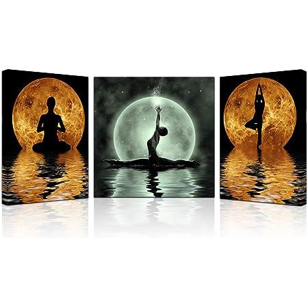 Yoga Pose Yoga Wall Art Studio Art Yoga Print Yoga Art LOTUS POSE #2 Large Yoga Contemporary Yoga Yoga Artwork Moon Colors