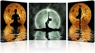 3 Pieces Abstract Seaside Painting Girl Do Yoga On The Beach in the Full Moon Night Sports Picture Printed on Canvas Wall Art For Home Decoration Stretched and Framed for Yoga Room 16
