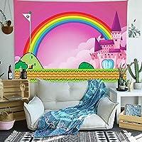 壁掛け 壁飾け壁のタペストリー漫画レインボーグリーン芝生アート壁掛けタペストリーリビングルームの家の装飾