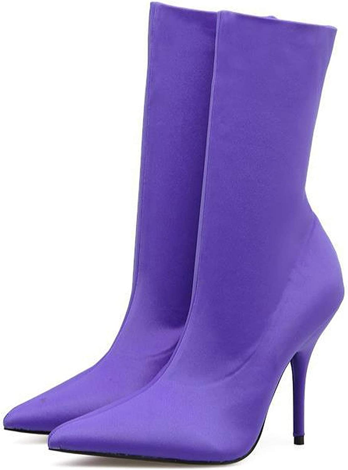 Runway Stretch Fabric Sock Boots Pointy Toe Over-The-Knee Heel Thigh High Boots shoes Sewing Boot,Purple,8
