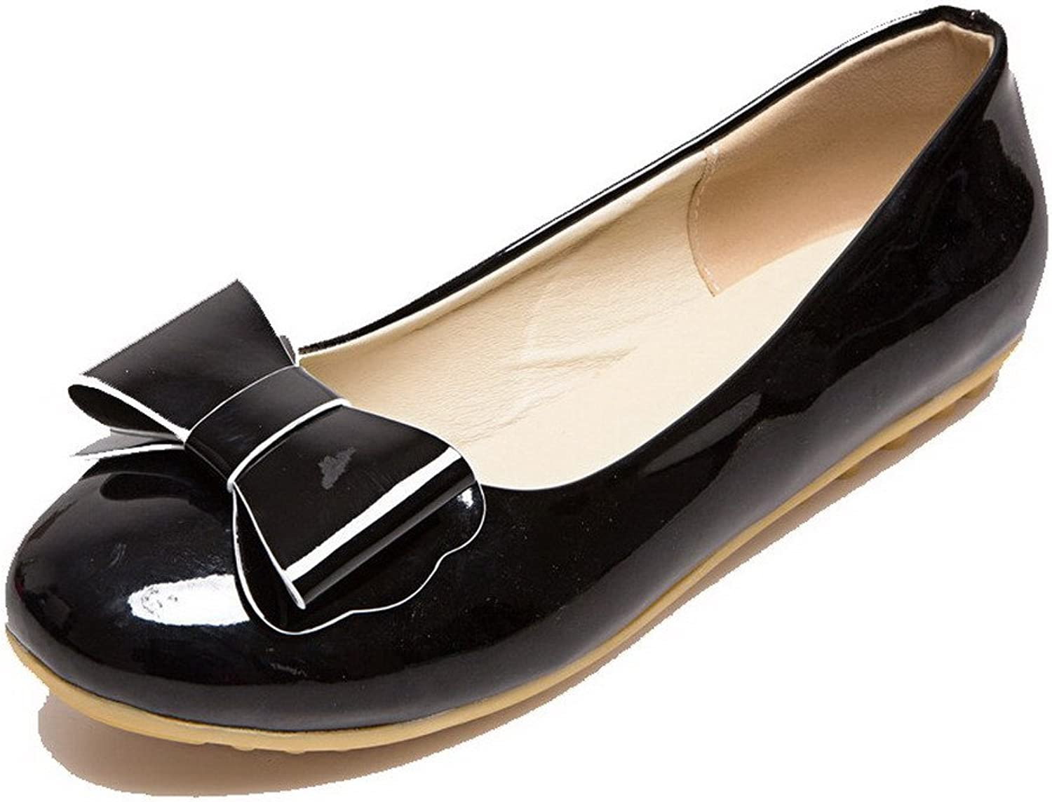 AllhqFashion Women's Solid Low-Heels Pull-On Round-Toe Pumps-shoes