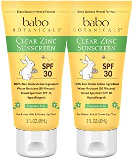 Babo Botanicals Clear Zinc Sunscreen Lotion SPF 30 with 100% Mineral Actives, Non-Greasy, Water-Resistant, Fragrance-Free,...