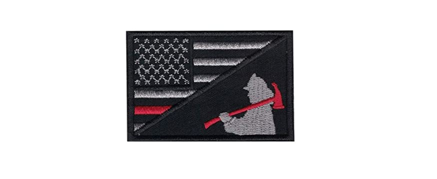 Firefighter Axe US Flag Thin Red Line Morale Patch Hook Backing United States