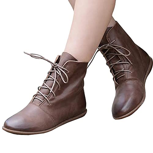Womens Lace-up Ankle Boots Low Heel Pointed Toe Soft Faux Leather Vintage Flat Booties