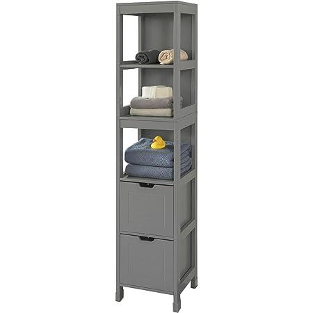 SoBuy® FRG126-SG Meuble Colonne de Salle de Bain Armoire Haute – 4 étagères et 2 tiroirs