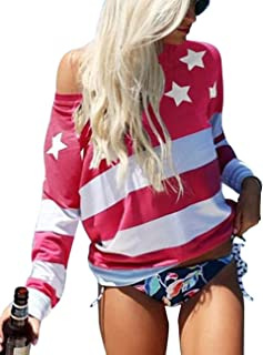Women's Long Sleeve July 4th Tee Shirt Blouse 5XXL Patriotic US American Flag T Shirt Tops Plus Size