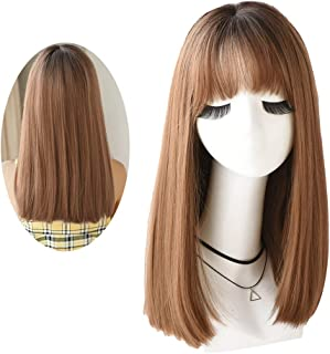 7JHH WIG Short Bob Wigs with Bangs Hair Dye Synthetic Hair Natural Bob Wig for Women(Chocolate Dyed Honey Blonde)
