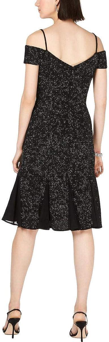 Nightway Womens Black Glitter Sweetheart Neckline Knee Length Sheath Cocktail Dress Size 8