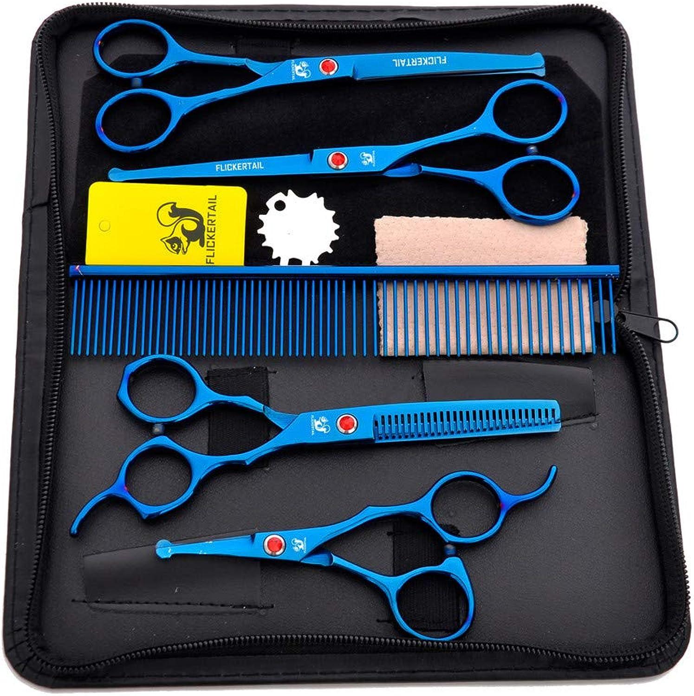 Round Head Pet Hairdressing Scissors Set Bending Scissors Thinning Scissor Pet Grooming Precision Safety Scissors (bluee)4.56.5 Inch