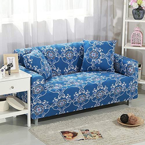 Funda Elástica para Sofá Cubierta del sofá Funda de sofá Funda elástica Protectora para sofá Patrón Blanco Tono Azul Viene con 3 Fundas de Almohada