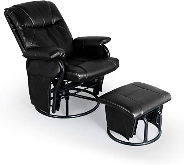 AODAILIHB Glider Chairs Rocking Chair With Ottoman 360 Swivel Chair PU Leather Upholstered Armchair Lounge Chair Sliding Chair Set Black
