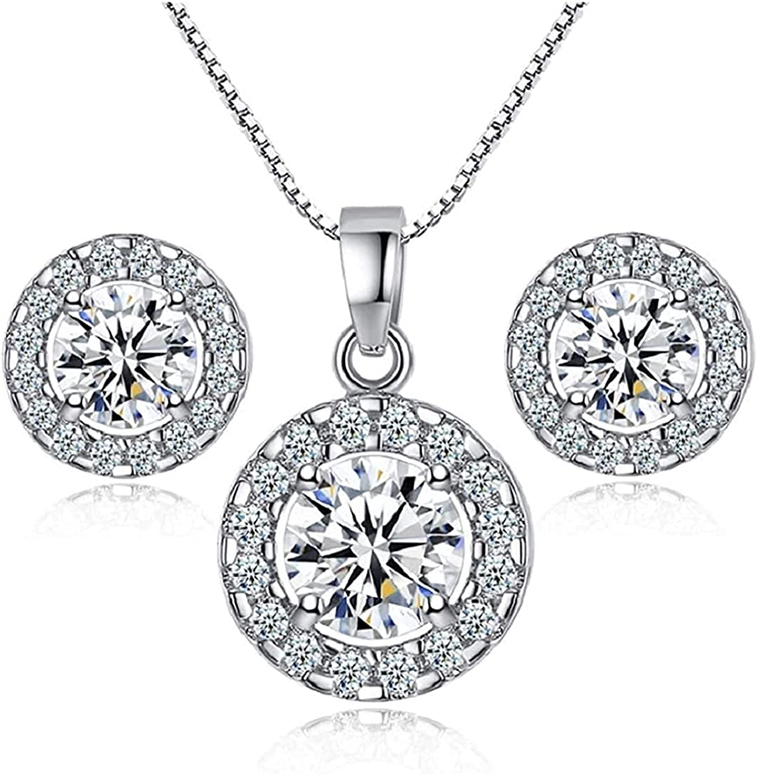 Earrings and Necklace Jewelry Set for Women - 18K White Gold Plated, Round Cut, Clear Crystal, Cubic Zirconia Necklace and Earrings Set - for Bridal, Bridesmaid, Party, Wedding Jewelry