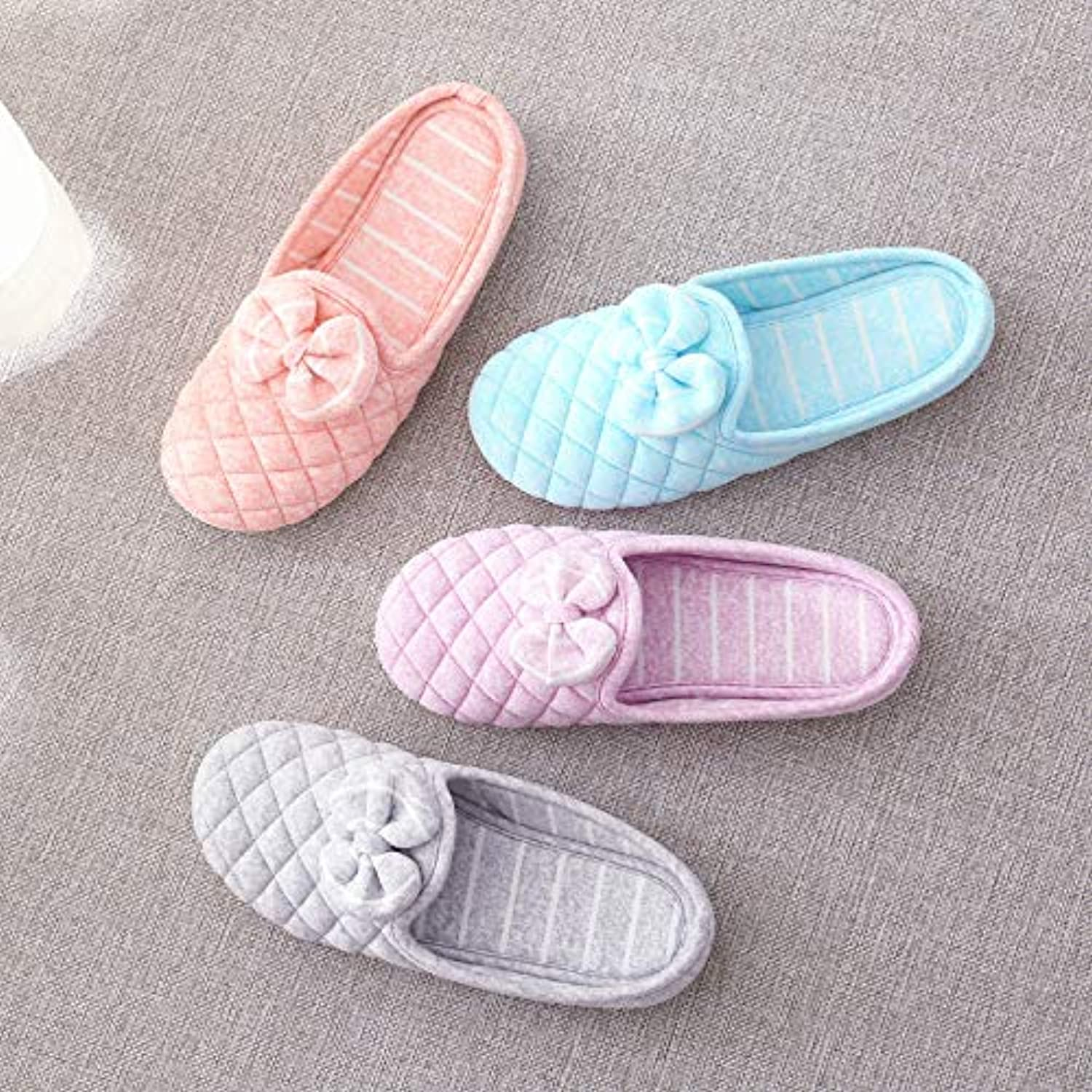 IANXI Home Summer Thin Half-Pack with Maternal Slippers Indoor Spring and Autumn Breathable Non-Slip Cotton Slippers (color   bluee, Size   2)