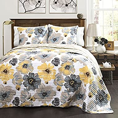 Lush Decor Leah Quilt 3 Piece Set, King, Yellow/ Gray