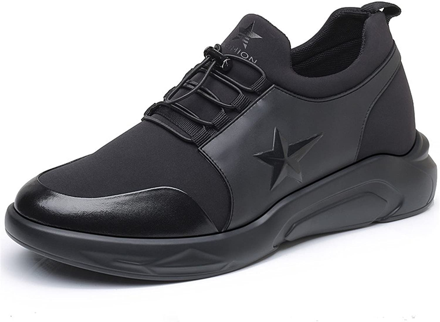 Men's Height Increasing Light Weight Casual Sport shoes 3.14 inches Elevator shoes Black