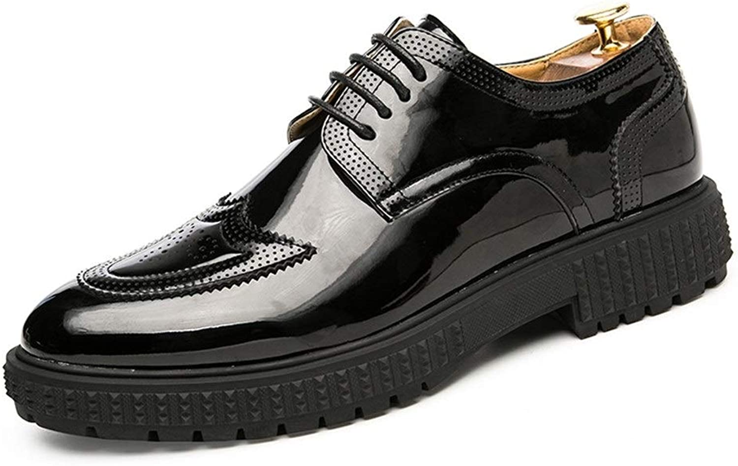 Easy Go Shopping Oxford shoes For Men Brogue shoes Lace Up PU Leather Classic Engraved Outsole Patent Leather Cricket shoes (color   Black, Size   8.5 UK)