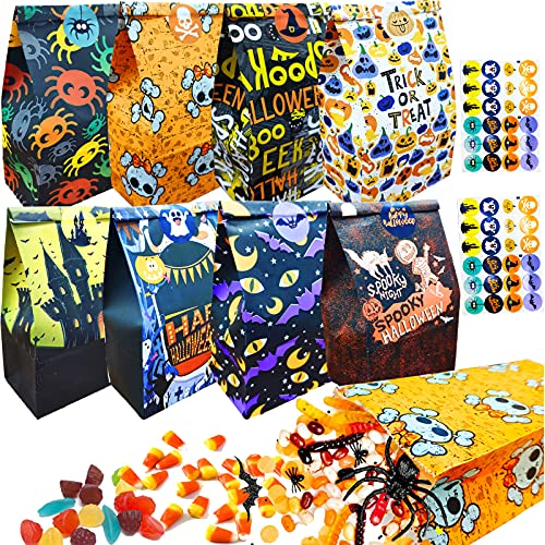 48 pcs Halloween Goodie Paper Bags Halloween Candy Paper Bags with 48pcs Halloween Stickers 8 Assorted Designs Paper Trick or Treat Bags for Classrooms Flat Bottom Bags for Halloween Party Supplies