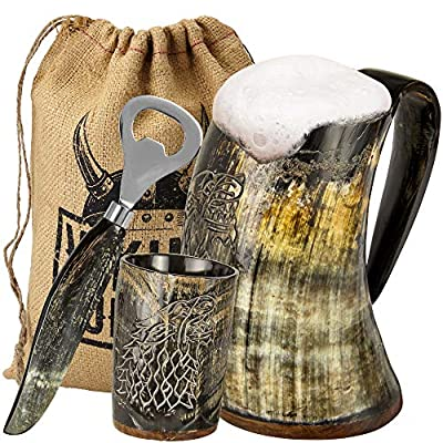Viking Culture Ox Horn Mug, Shot Glass, and Bottle Opener (3 Pc. Set) Authentic 16-oz. Ale, Mead, and Beer Tankard   Vintage Stein with Handle   Custom Intricate Design - Natural Finish   Wolf/Fenrir