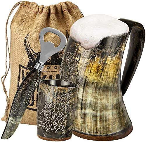 Viking Culture Ox Horn Mug Shot Glass and Bottle Opener 3 Pc Set Authentic 16 oz Ale Mead and product image