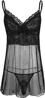 Freebily Men's Sheer Mesh Mini Dress with G-String Sissy Underwear Nightwear Lingerie Set