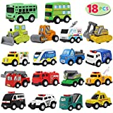 JOYIN 18 Piece Pull Back City Cars and Trucks Toy Vehicles Set Model Car, Friction Powered Die-Cast Cars for Toddlers, Boys, and Girls' Educational Play