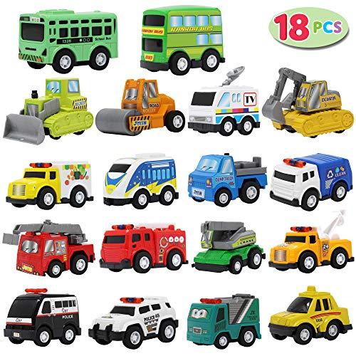 JOYIN Juego de Vehículos de Juguete y Camiones Urbanos de 18 Piezas para niños.